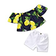 KIDSA 1-6T Toddler Baby Little Girls Summer Clothes Lemon Ruffles Off The Shoulder Tops + Jeans Shorts Cute Outfits Sets