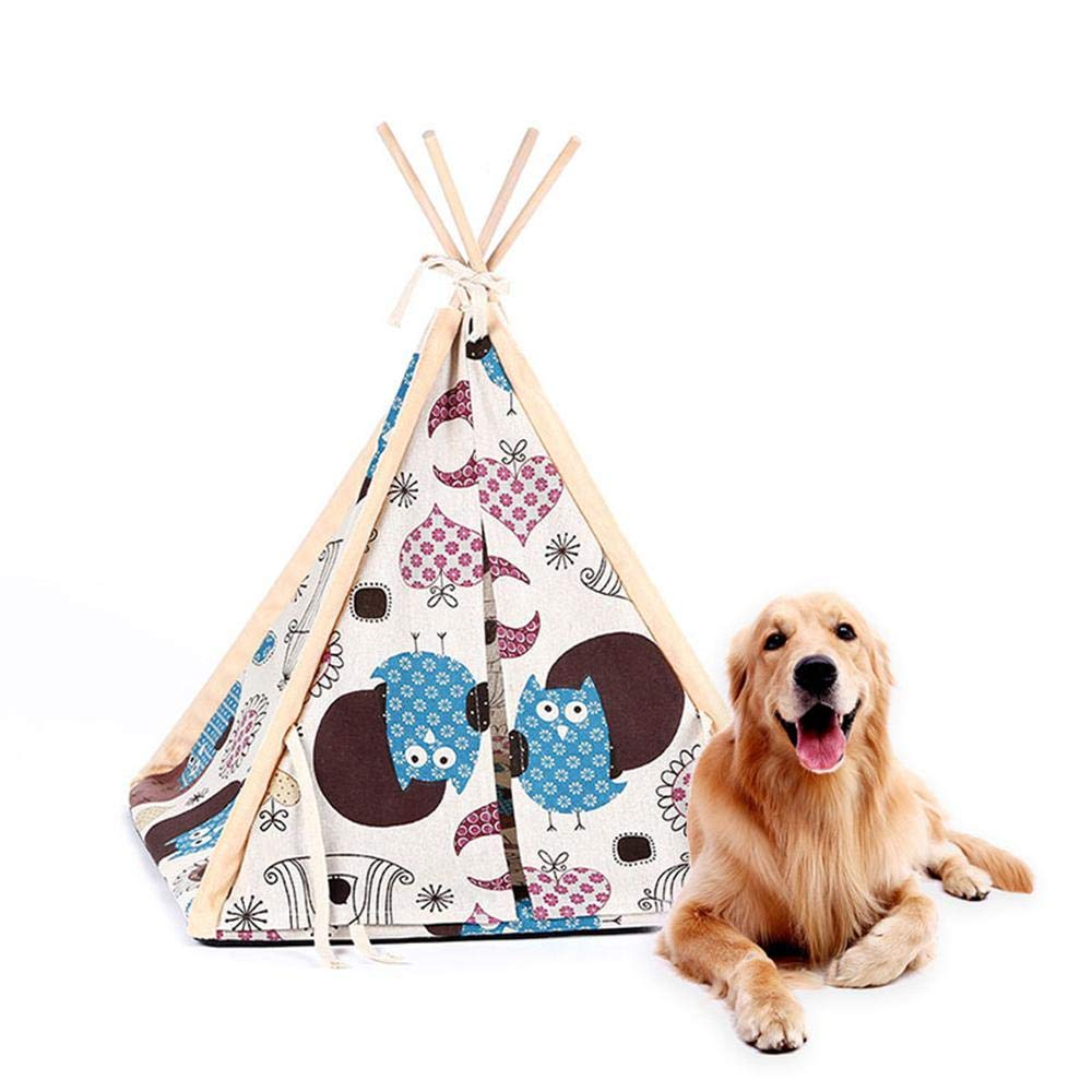 Aolvo Pup Tent for Dogs, Pet Teepee Tent Dog/Cat Bed Washable Folding  Portable Colorful Cute Style Cotton Canvas Pet House with Strong Sticks for