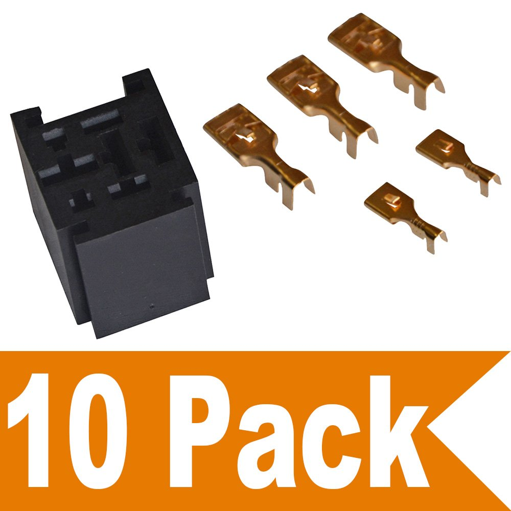 Ehdis® 80 Amp relais Connecteur 5 broches Socket relais avec 5 Bornes: 2 x 6.3mm + 3 x 9.5mm, paquet de 2
