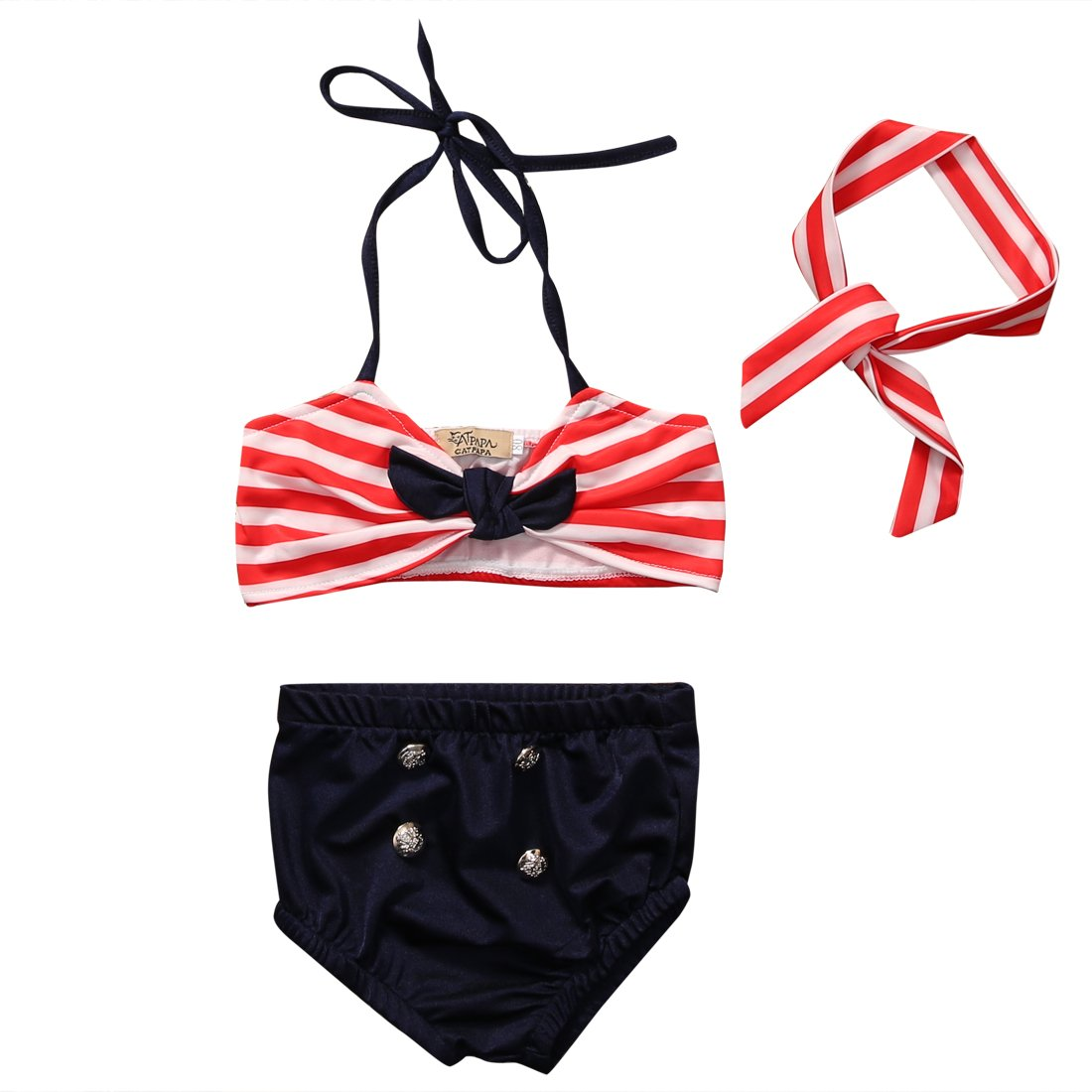 honeys Baby Girls 3pcs Swimwear Bikini Sets Halter Pom Top+Dot Bottom+Bow Headband