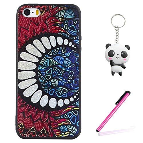 Coque iPhone SE / 5 / 5S 3D Dents de lune Premium Gel TPU Souple Silicone Protection Housse Arrière Étui Pour Apple iPhone SE / 5 / 5S + Deux cadeau