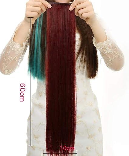 Peluca femenina larga extensión de cabello de color liso ...