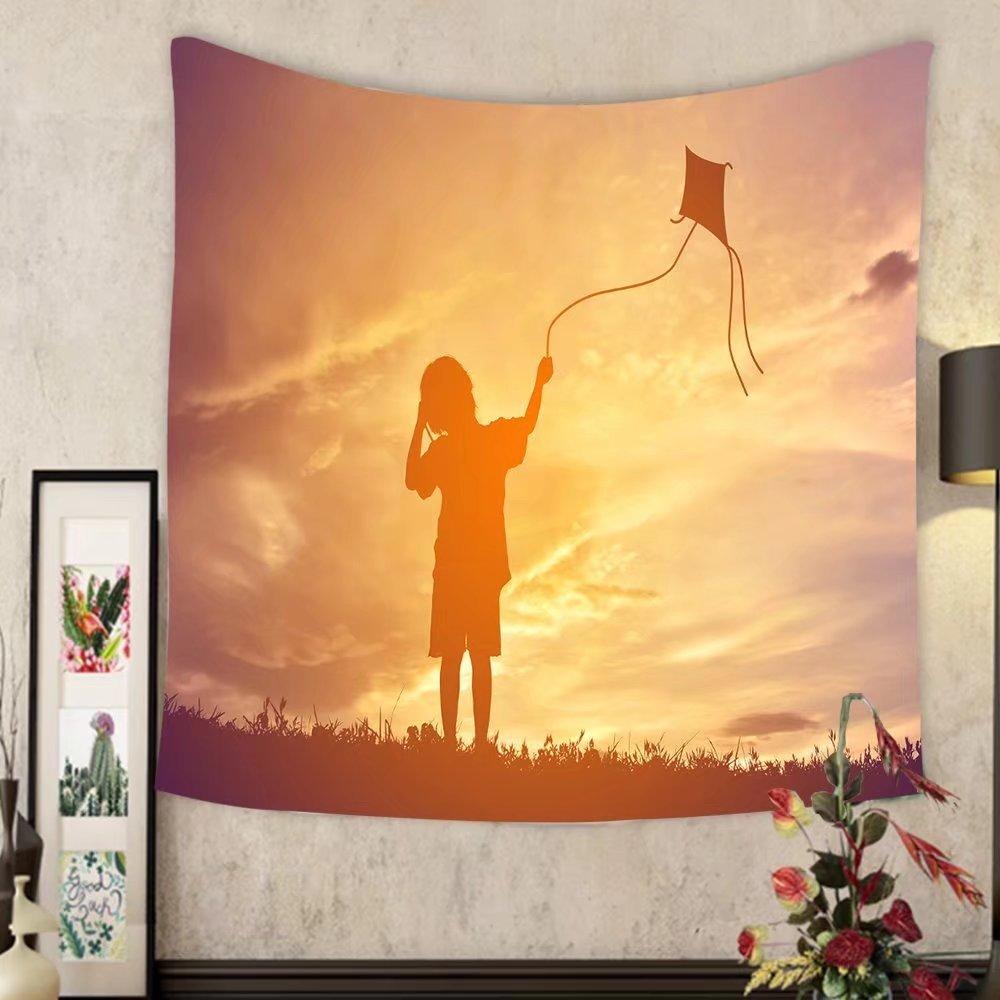 Carolyn J. Morin Custom tapestry silhouette little girl playing kite on sunset