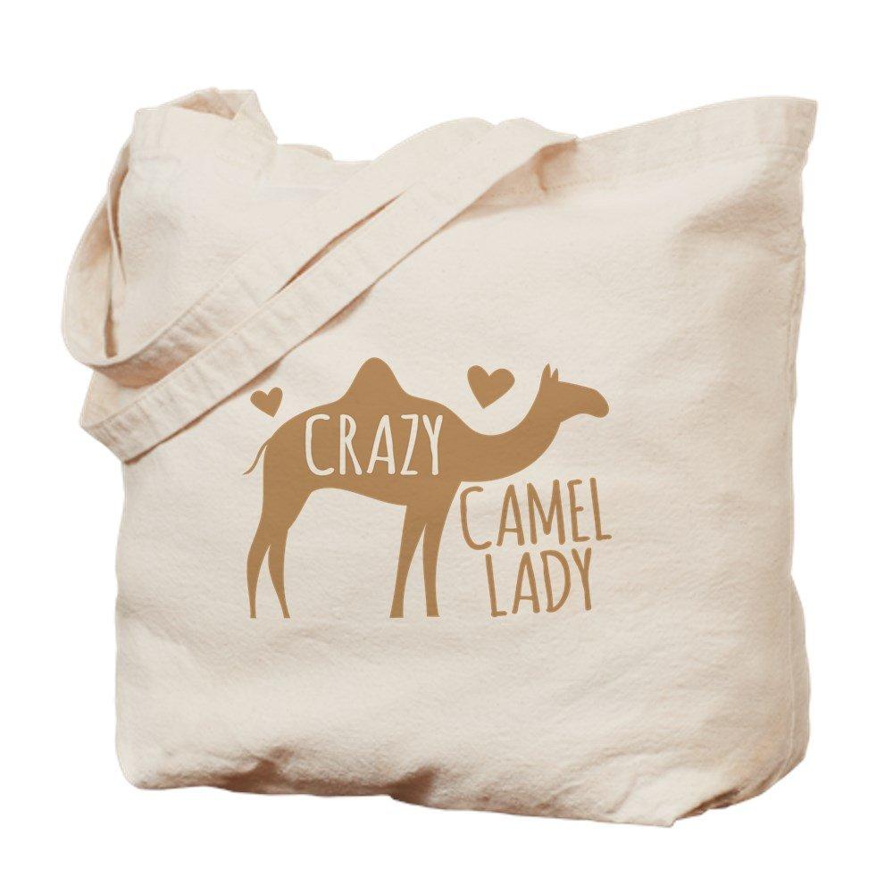 CafePress – Crazy Camel Lady – ナチュラルキャンバストートバッグ、布ショッピングバッグ S ベージュ 1465375283DECC2 B0773S3X46  S