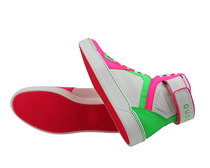 971a95a6745a Amazon.com  Gucci High top Green Pink White Neon Leather Sneaker with Strap  386738 5663  Shoes