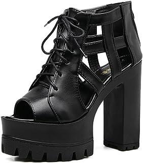 DZW Ladies Chunky Sole Block Chaussures Talons Chaussures Taille Hommes Ankle Strap PlatformDemander aux jeunes