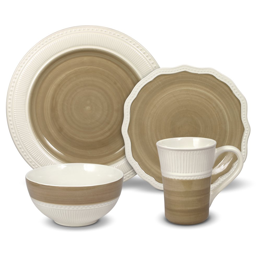 Gourmet Basics Magnolia 32 Piece Dinnerware Set, Service For 8 by Gourmet Basics