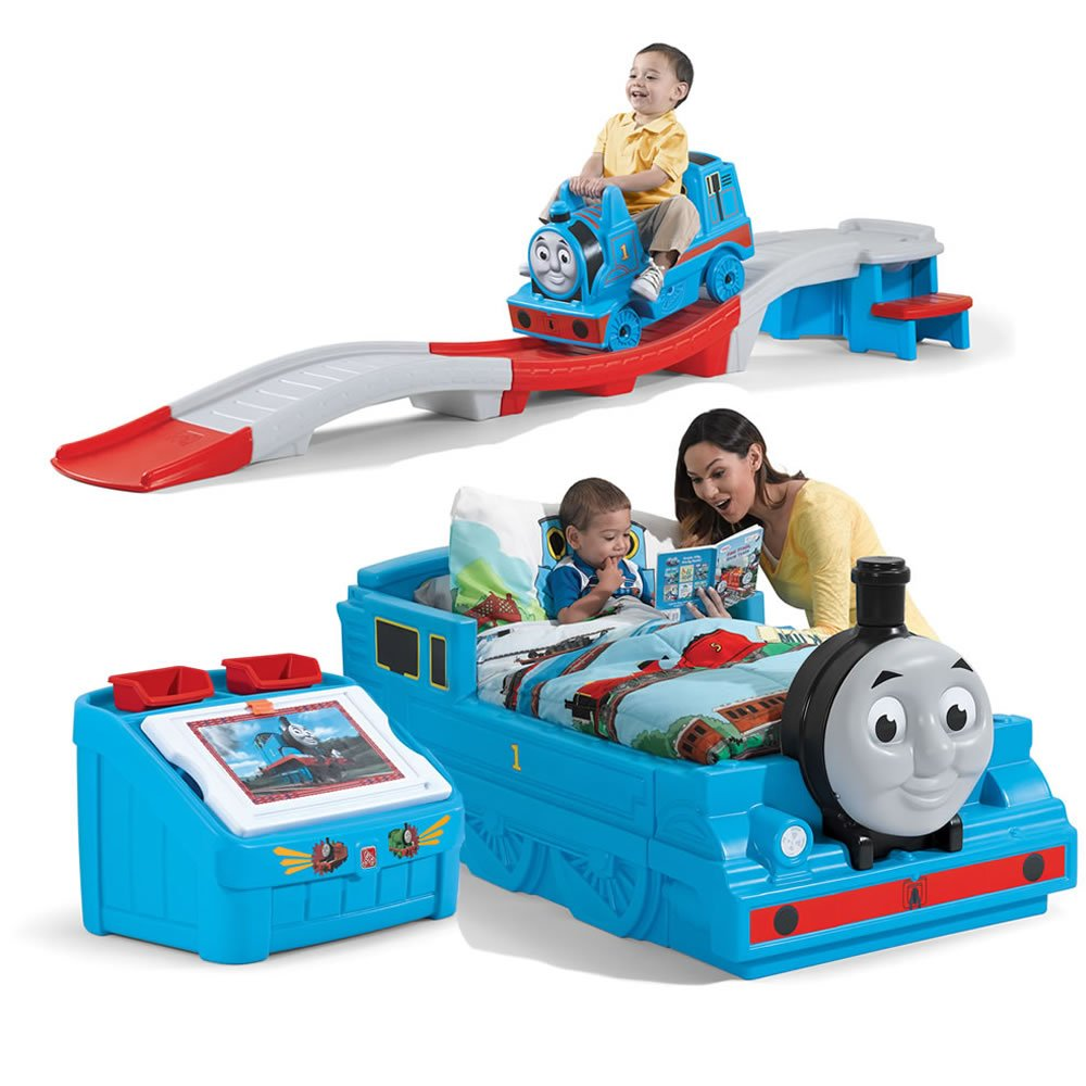 Step2 Thomas The Tank Engine Bedroom Set For Kids, Includes Toy Box, Toddler Bed, Roller Coaster by Step2