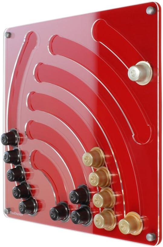Plexidisplays 1107006 Porte-Capsules Mural pour Capsules de Type Nespresso Rouge 41/x/40 cm