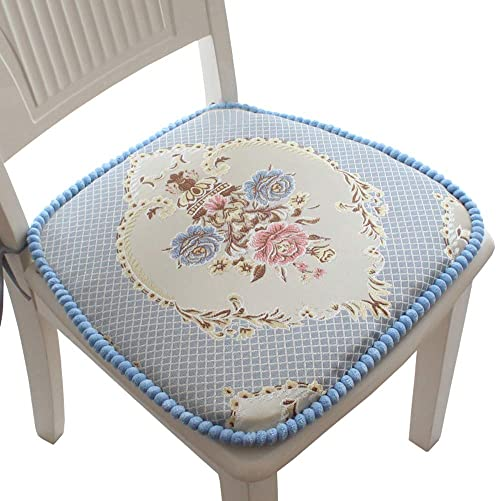 Embroidery Chair Pad, Dining Chair Cushion Non Slip Seat Cushion Garden Patio Home Kitchen Office Blue 1, 4 Pack