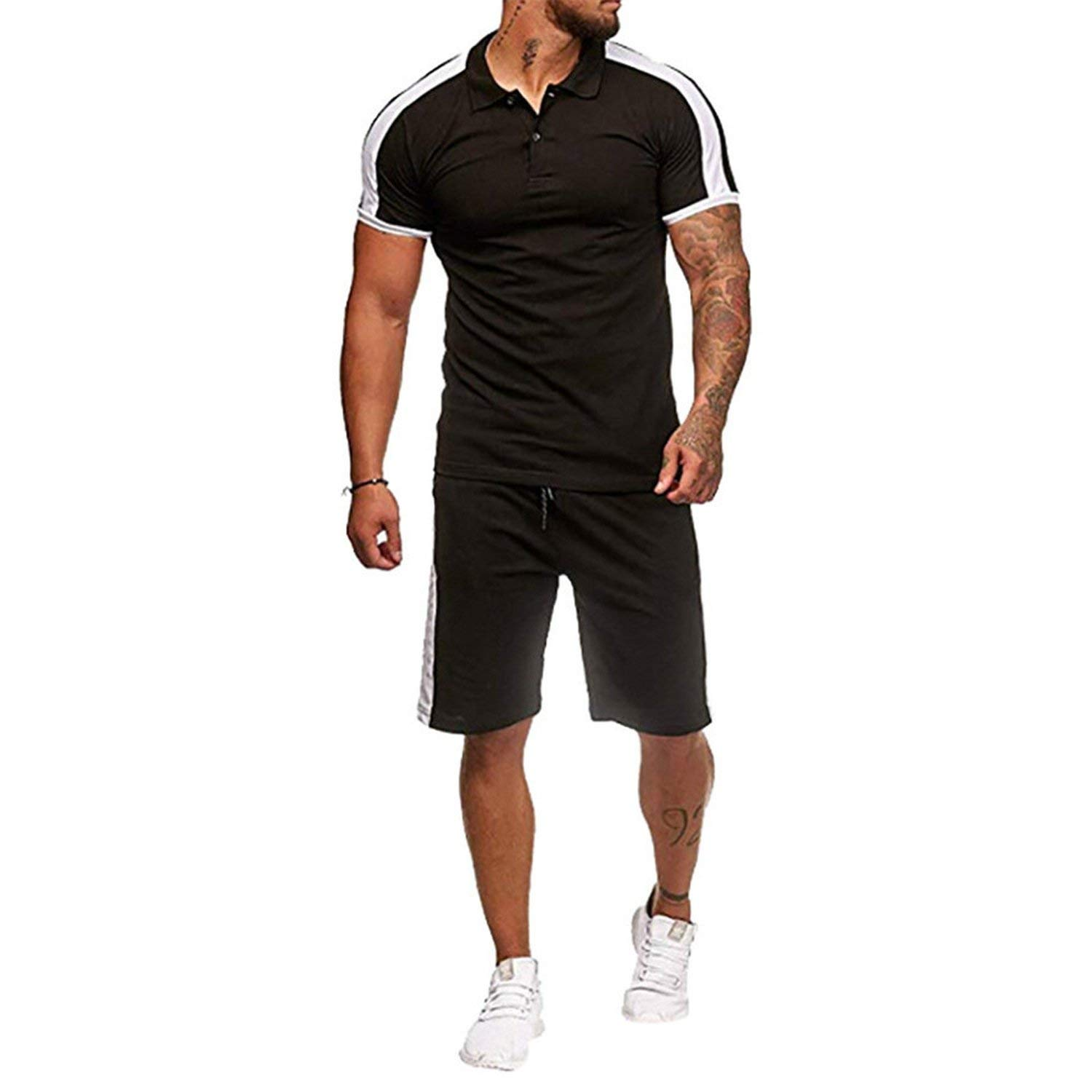 Black Set Small Tracksuit Set Men Beach Wear Casual Harajuku Sportswear Sets Slip Soft Joggings Polo Shirt Suit Sweat