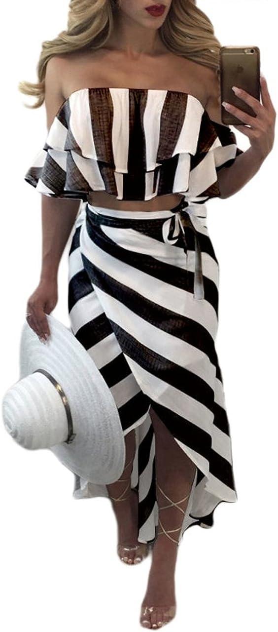 Stripes Side Slit Two-Piece Maxi Dress