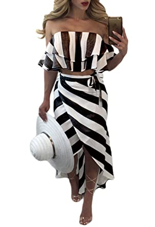 8c0f041ef318b1 Women s Sexy Off Shoulder Strapless Ruffle Stripes Side Slit Two-Piece Maxi  Dress at Amazon Women s Clothing store