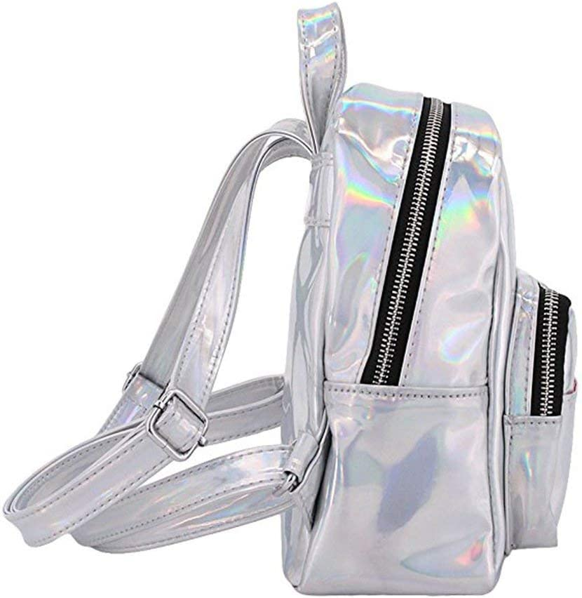 Chic Holographic Laser Mini Backpack Purse Leather Daypack Travel School Satchel Pink