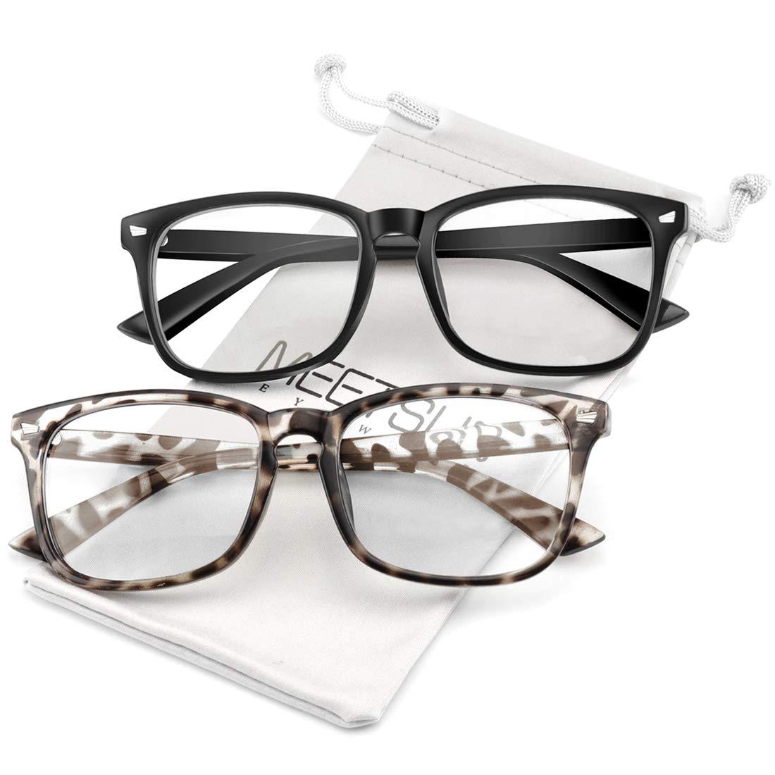 MEETSUN Blue Light Blocking Glasses Nerd Eyeglasses Frame,Anti Blue Lights Computer Reading Gaming Glasses For Women Men 2 Pack Black Leopard Tortoise HEV Clear Lens