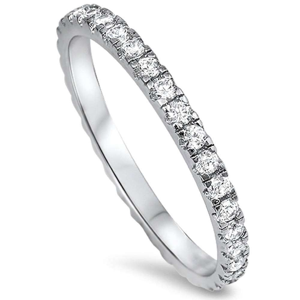 Sterling Silver Stackable Ring Cubic Zirconia Eternity Band For Women - Silver - 6