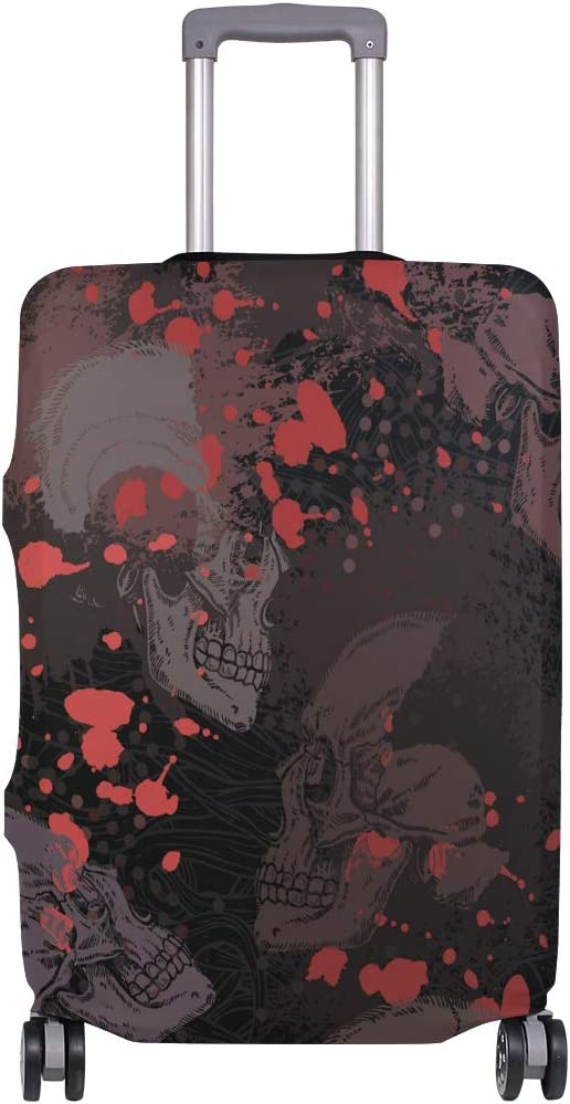 OREZI Luggage Protector,Skulls With Blood Elastic Travel Luggage Suitcase Cover,Washable and Durable Anti-Scratch Case Protective Cover for 18-32 Inches