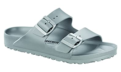 d5b3faee3c898 Birkenstock Unisex Arizona Essentials EVA Metallic Silver Sandals - 37  Narrow EU
