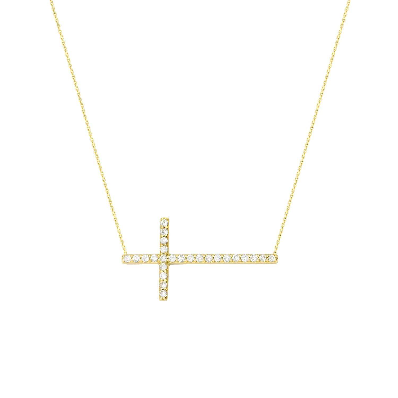 DiamondJewelryNY Silver Pendant Ss E2W YLW Cz Sideways Cross