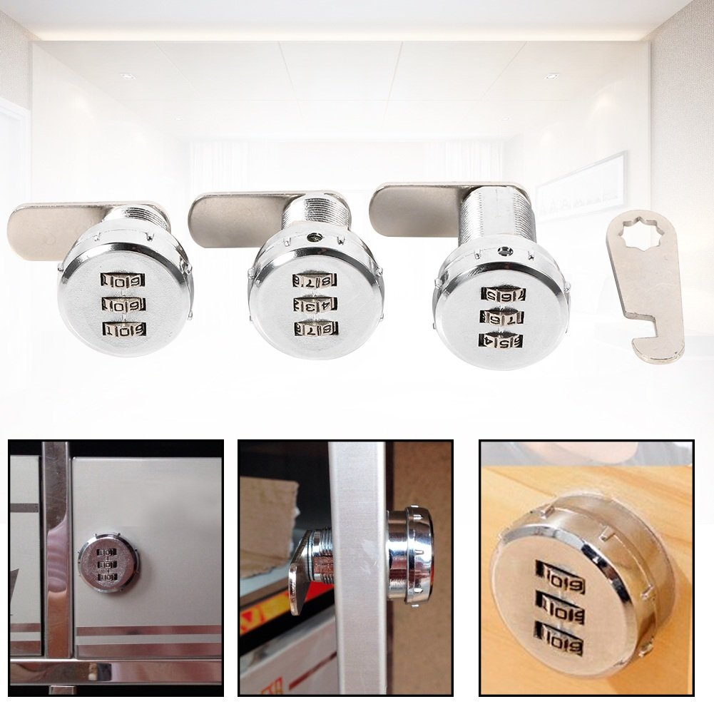 Delaman Ch/âteau bo/îte armoire encodeur tiroirs Serrure /à combinaison /à 3 chiffres Taille : 3# Coded Lock for 17~23mm
