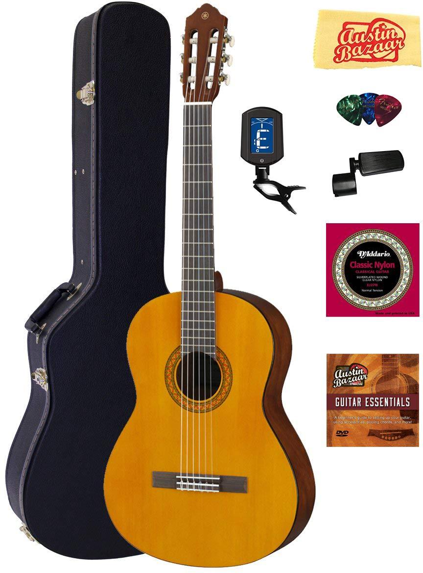 Yamaha C40 Nylon String Acoustic Guitar Bundle with Hardshell Case, Tuner, Instructional DVD, Strings, Pick Card, and Polishing Cloth by YAMAHA