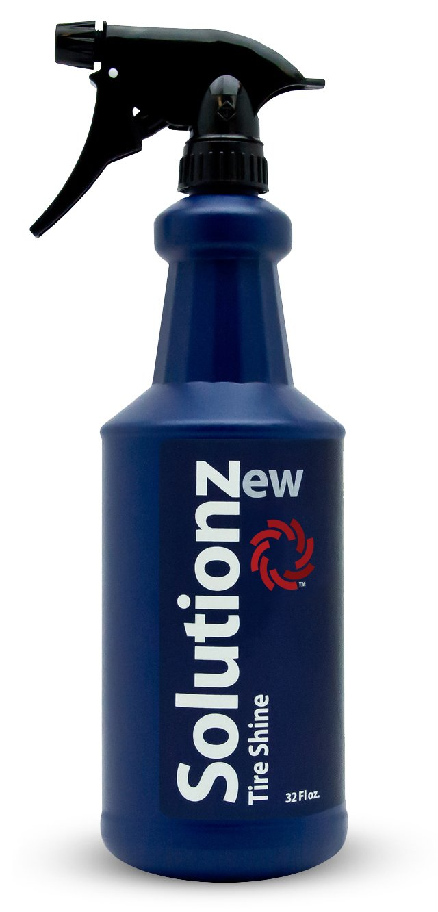 New Solutionz Tire Shine - Brightens Your Faded Tires to a High-Glossy Shine - Advanced Water-Based Silicone Emulsion Formula for a Long Lasting Shine