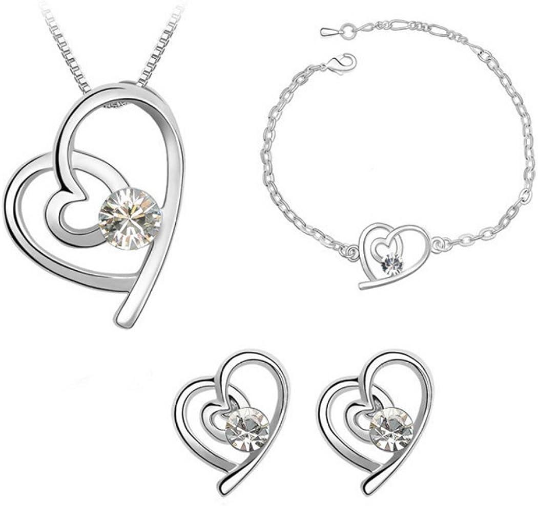 PRESKIN Collar de la joyería + aretes corazón de Plata de la Pulsera + | Colgante de corazón de Barrido en la Cadena Fina con Pendientes a Juego y Pulsera
