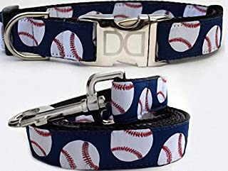 "product image for Diva-Dog 'Baseball' Custom Small Dog 5/8"" Wide Dog Collar with Plain or Engraved Buckle, Matching Leash Available - Teacup, XS/S"
