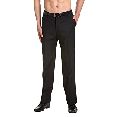 CONCITOR Men's TUXEDO Pants Tux Flat Front GOLD Satin Band Solid BLACK Color at Amazon Men's Clothing store