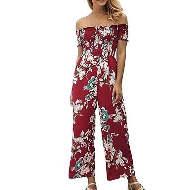 c6044b8d7bbe1 Lenfesh Femme Combinaison Pantalon Ete Longue Sexy à Bretelle sans Manches  Casuel Imprimé Fleurs Jumpsuit Rompers: Amazon.fr: Vêtements et accessoires