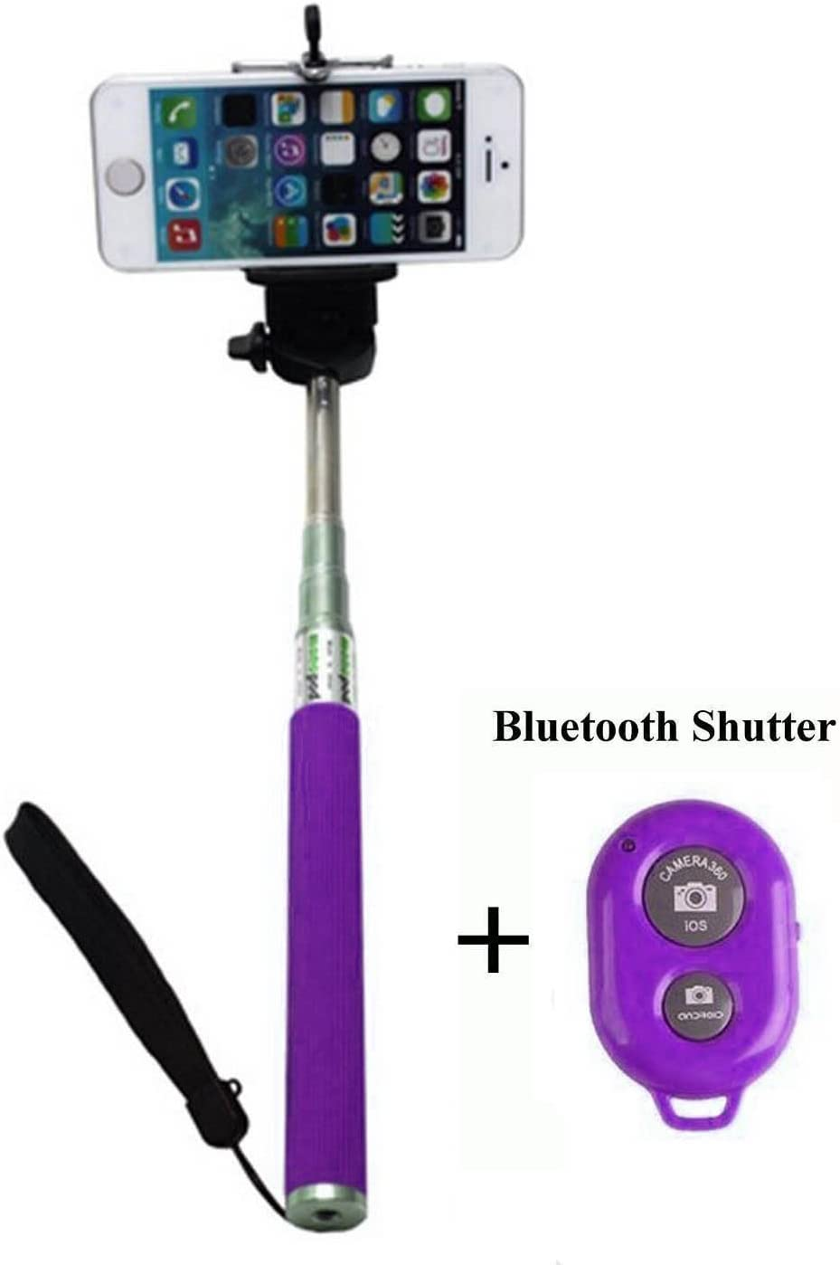 Ultra Pink Handheld Bluetooth Extendable Selfie Stick No Wires Monopod Pole Compatible with All iOs Android Smart Mobile Phone 360 Degree Rotation