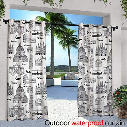 BlountDecor City Balcony Curtains Monochrome Sketch Style Famous Places from Italy Rome Milano European Architecture Outdoor Patio Curtains Waterproof with Grommets W120 x L108 Black White ()