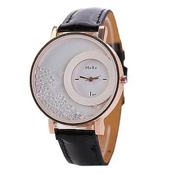 Tongshi Mujer Piel Quicksand Rhinestone pulsera de cuarzo reloj de pulsera del reloj (Negro): Amazon.es: Relojes
