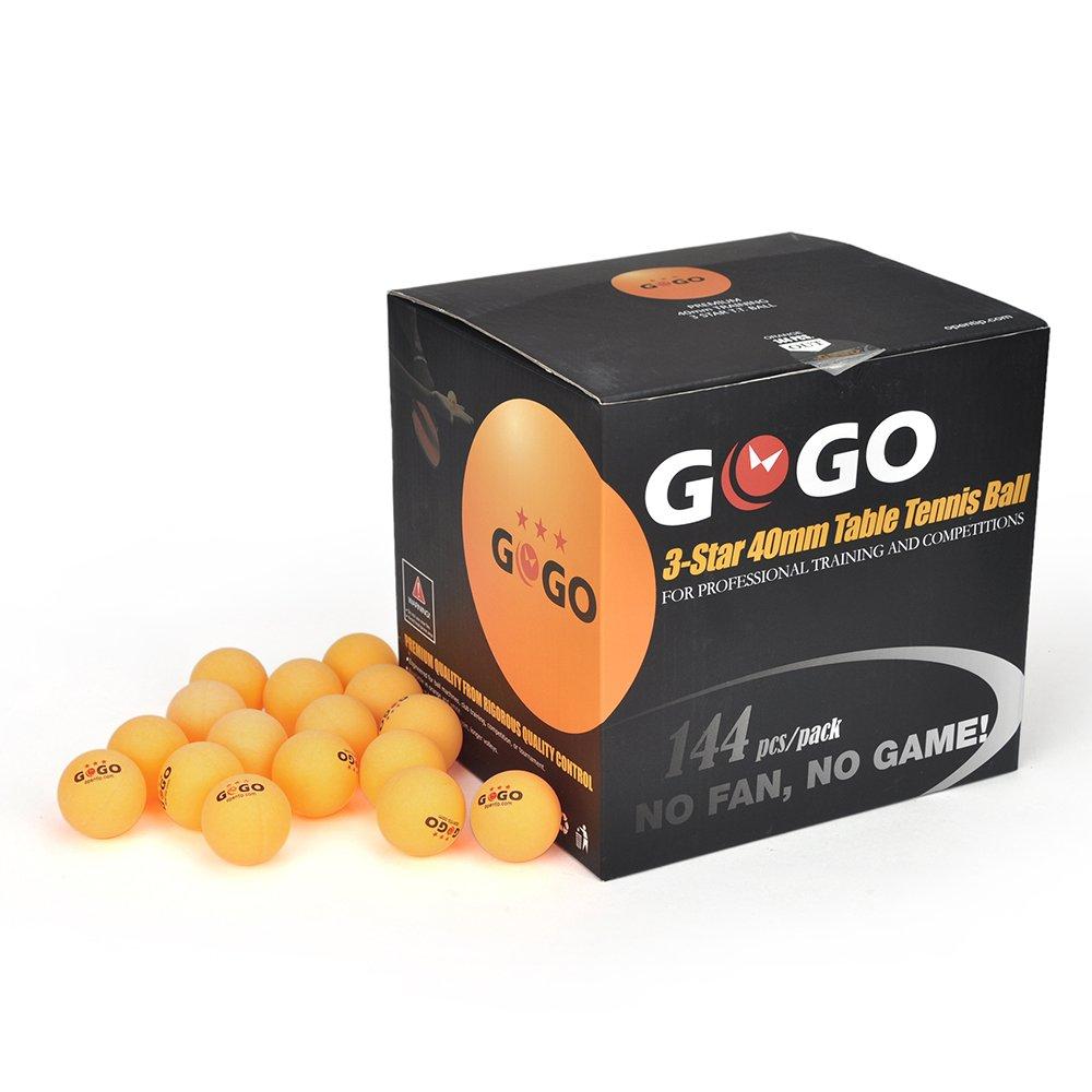 GOGO 3-Star 40mm Seamless Table Tennis Balls, Premium Ping Pong Balls (144-pack)-Orange