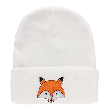 Luversco Unisex Cute Animal Knit Cap Embroidery Fox Pattern Hat