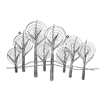 Amazon De Wanddeko Metall Silber Bild Relief Forest 80 X 55 Cm