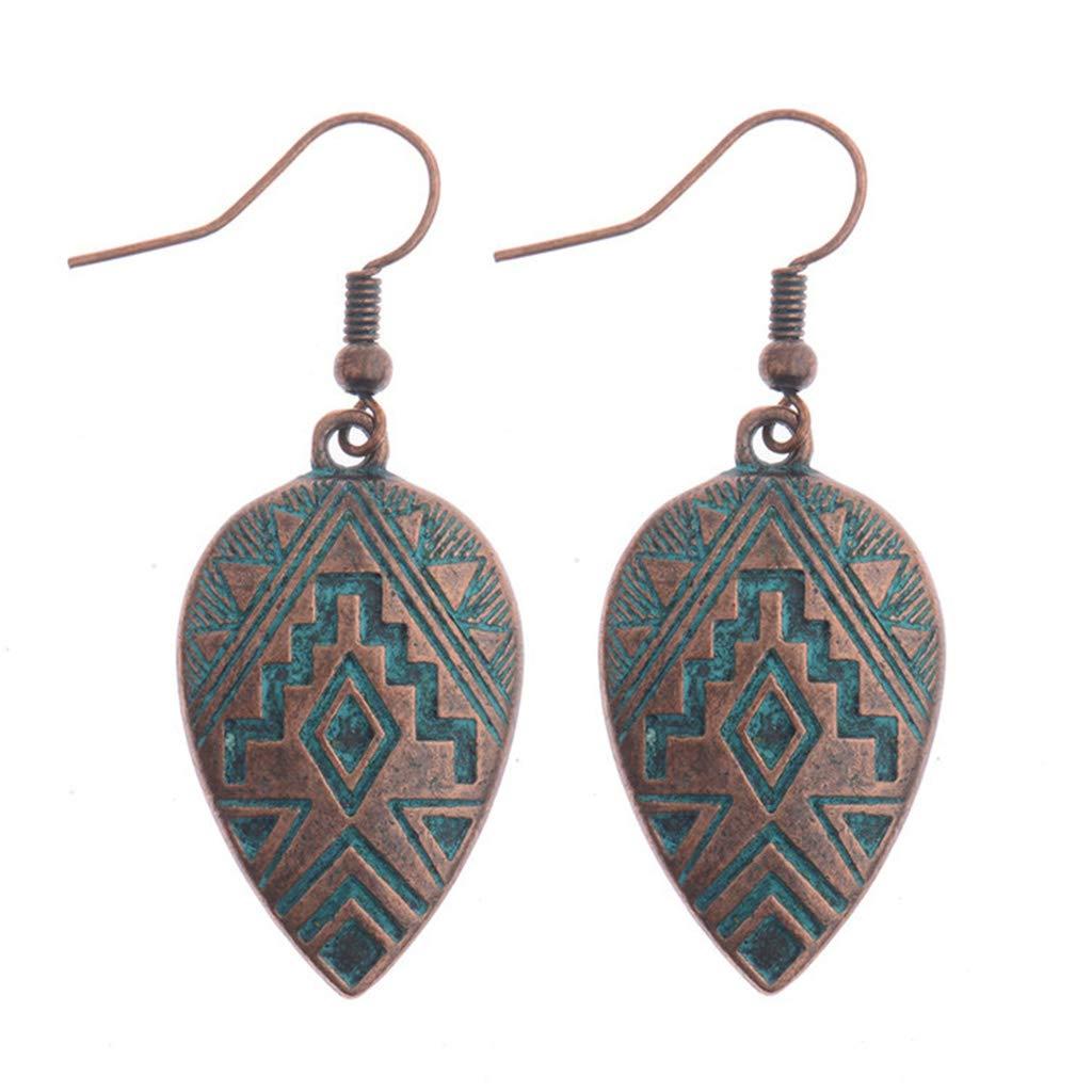 Princegame 1 Pair Creative Alloy Embossed Nepal Styles Earrings Vintage Ear Hooks Minimalism Elegant Design Female Danglers Jewelry Gift