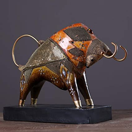 Copper Bullfighting Figurine Miniature Statue Animal Ornament Display Home Decor