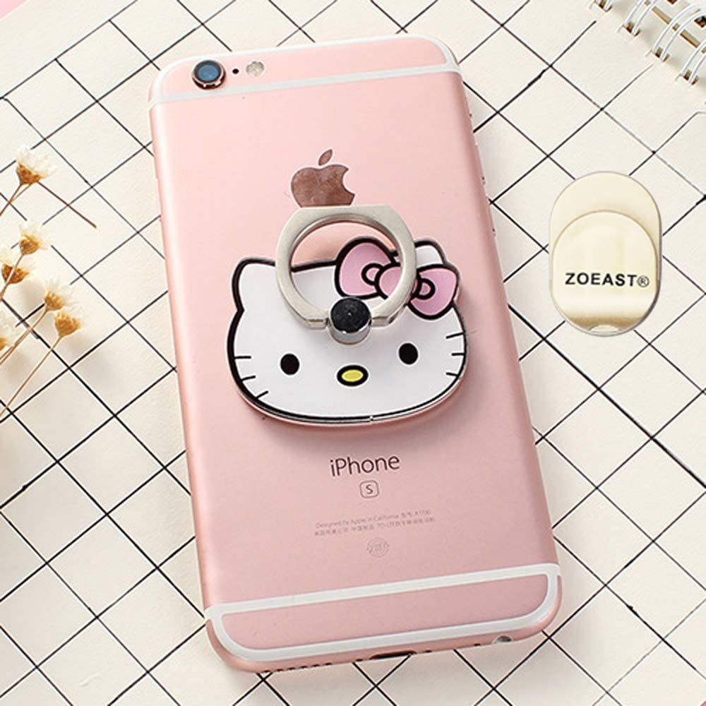 TM ZOEAST Phone Ring Panda Cat Kitty Universal 360/° Rotating Phone Buckle Tablet Finger Grip Stand Holder Kickstand Tablet Compatible with iPhone 5 6 6S SE 7 8 Plus XS Max Android iPad Pink Kitty
