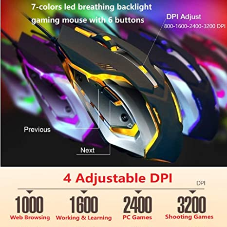 Amazon.com: Wired Gaming Keyboard and Mouse Combo with RGB Rainbow LED Backlit,Waterproof,Dust and Dirt-Proof,Ergonomic Design,Mechanical Feeling,for ...