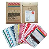 Kobwa(TM) Decorative DIY Basic Paper Tape Pretty Masking Sticker Set (Random Color) with Kobwa's Keyring