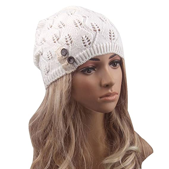 cf2710dfd7170 Womens Fashion Lightweight Cutout Crochet Knit Beret Beanie Hat with Side  Button at Amazon Women s Clothing store