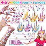 Pawliss 48 Pack Unicorn Party Favors Supplies, Masks, Rings, Bracelets, Keychains, Tattoos, Kids Girls Birthday Novel Rainbow Gifts Toys 12 Guests