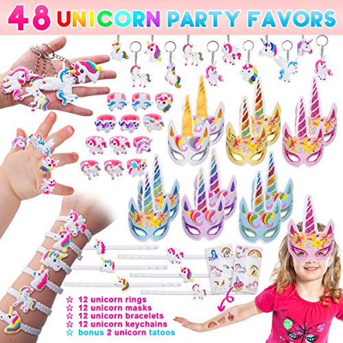 Pawliss 48 Pack Unicorn Party Favors Supplies, Masks, Rings, Bracelets, Keychains, Tattoos, Kids Girls Birthday Novel Rainbow Gifts Toys 12 Guests by Pawliss