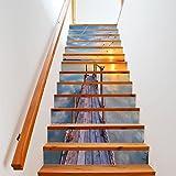 """YIZUN 13Pcs DIY Steps Sticker Removable Stair Sticker Home Decor Sea View,39.3""""x7"""""""