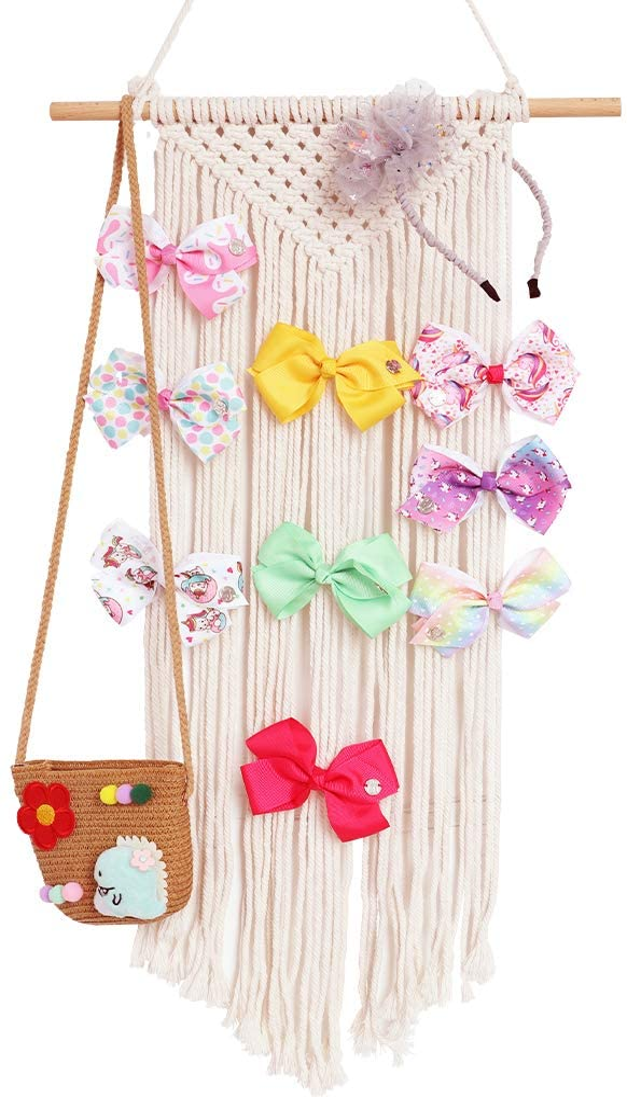 Habbi Macrame Hair Bow Holder Girl Clip Bow Organizer Wall Hanging Decor Hanging Hair Clips Hanger for Baby Girls Room