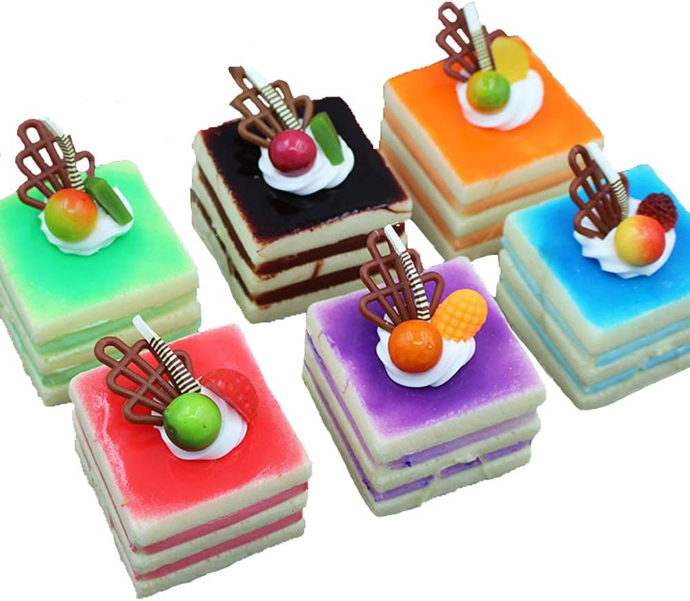 Lopkey Realistic Artificial Cake Assorted Mixed Fake Cake Food Model Home Staging Equipment Crafts Photography Props Home Decoration Square Cake