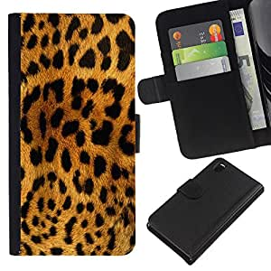 KingStore / Leather Etui en cuir / Sony Xperia Z3 D6603 / Patrón Leopard Cat Marrón Negro Amarillo