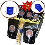 3dRose Alexis Design - Christian - Decorative cross, the text Holy Light on my path on blue - Coffee Gift Baskets - Coffee Gift Basket (cgb_286189_1)