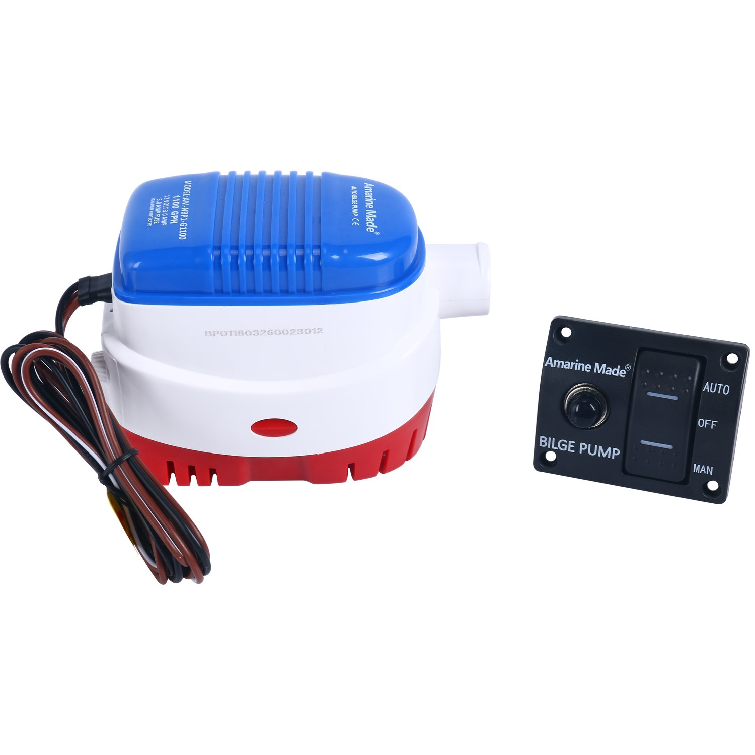 Amarine Made 12v 1100gph Automatic Submersible Boat Home Water Pumps Fuse Box Bilge Pump And Auto Off Man Led Rocker Switch Panel Circuit Breaker
